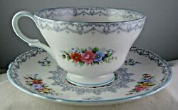 Shelley Crochet 13303 Fine Bone China Cup And Saucer Set - Minty