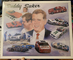 Buddy Baker Career Tribute Print Poster Sign Winston Cup Nascar Painting 11x14