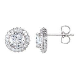 Diamond Halo Earrings 14kt White Gold 5 Sizes Andfrac34 1 ⅓ 1 ⅞ 2 ⅜ Ctw Quality Video