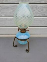 Oil Lamp Hinks Vaseline Swirl Font And Shade Brass Stand Age 1856 Beautiful Ol8