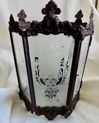 Large ANTIQUE Hanging CANDLE LANTERN Never Electrified VICTORIAN