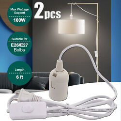 2x Power Cord Hanging Light Kit E27 Screw In Line Lamp Holder Socket With Switch