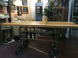 1940and039s Gurney Re-styled Into An Industrial Kitchen Island Foyer Table Or Bar