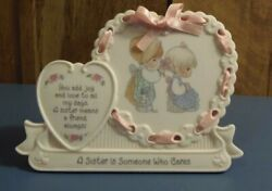 Precious Moments-sisters Plaque W/ Saying- Heart Shaped Plaque