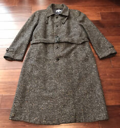 Vintage Mens Wool Leather Accents Full Length Belted Overcoat Coat Sz L