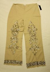 Venus Womenand039s Zip Up Sequin Embellished Linen Pants Cl8 Natural Size Us14 Nwt