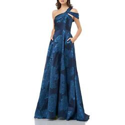 Carmen Marc Valvo Womens Blue Embroidered Formal Evening Dress Gown 2 BHFO 6879 $59.99