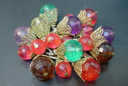 Fabulous Vintage Napier Lucite Charm Bracelet With Colorful Chunky Charms