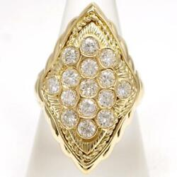 Jewelry 18k Yellow Gold Ring 17 Size Diamond 1.86 About11.8g Free Shipping Used