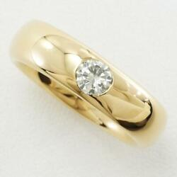 Jewelry 18k Yellow Gold Ring 14.5 Size Diamond About13.9g Free Shipping Used