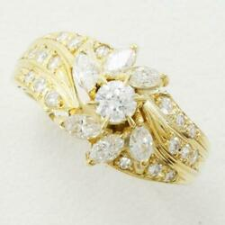 Jewelry 18k Yellow Gold Ring 8 Size Diamond 0.62 About5.2g Free Shipping Used