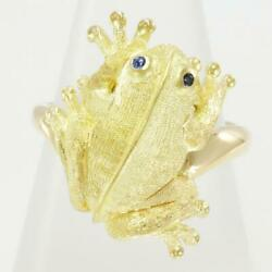 Jewelry 18k Yellow Gold Ring 14japan Size Sapphire About8.4g Free Shipping Used