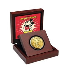 2014 Disney Mickey Mouse Steamboat Willie 25 1/4oz Gold Proof Coin Nz Mint 946