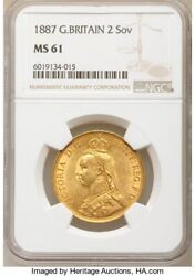 1887 British Victoria Jubilee Head Andpound2 Pound Double Sovereign Gold Coin Ngc Ms61