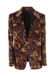 New Tom Ford Shelton Camouflage Brown Sport Coat Size 48 / 38r U.s. In Cotton...