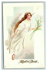 Vintage 1900and039s James E. Pitts Easter Postcard Beautiful Angel Flowers Religious