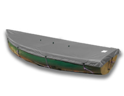 Lehman 12 Wooden Rails Top Deck Boat Cover - Polyester Charcoal Gray