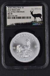 2018 S. Africa Silver 1r Krugerrand Silver Metal Label First 1000 Ms70 Signed