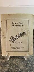 Vintage Price List Of Parts Overland Automobile Models 37-38 The Willys Lot 356