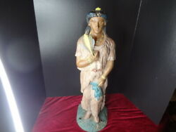 Rare 19th Century Cast Iron And Bronze Counter-top Cigar Store Indian Maiden
