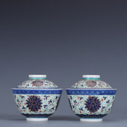4.3 Chinese Porcelain Qing Dynasty Guangxu A Pair Famille Rose Gilt Lotus Bowl