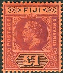 Fiji-1914 £1 Purple And Black/red Die I. A Superb Lightly Mounted Mint Sg 137