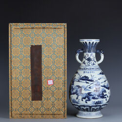 13.8 China Palace Antique Porcelain Yuan Dynasty Blue White Will War Horse Vase