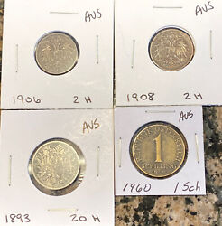 Lot Of 4 Vintage Austrian Coins - 1893 1906 1908 And 1960