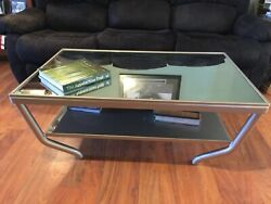 Coffee Table, Glass Top, Steel Frame, Made To Order Any Color, Metallic Finish