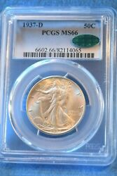 1937-d Walking Liberty Half Dollar Pcgs Certified Ms--66 Cac Outstanding 37