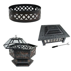 Black Portable Steel Fire Pit Three Shape Hex Shaped/square/round Yard Outdoor