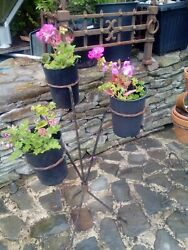 Vintage French Metal Plant Stand Wrought Iron Holds 3 Pots Hand Made