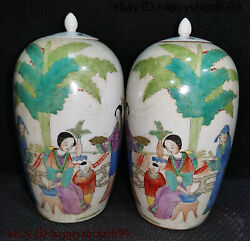 Collect Ancient Chinese Dynasty Porcelain People Tree Poetry Word Jar Son Pair