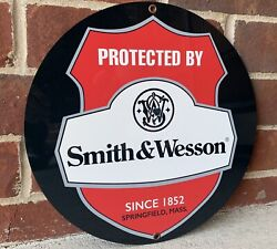 Smith And Wesson Gun Vintage Style Round Metal Sign Ammunition Ammo Rifle Revolver