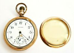 1915 Us Yellow Gold Plated Half Hunter Gents Pocket Watch By Waltham Ahb
