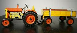 Vintage Kovap Zetor Tin Litho Wind Up Toy Tractor Trailer Wagon Red