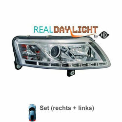 Design Xenon Headlight Set For Audi A6 C6 Type 4f2 Year 04-08 Clear Glass /