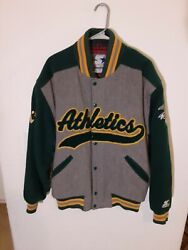 Vintage 80's Oakland A's Mlb Wool Starter Jacket Large Gray, Green, And Yellow