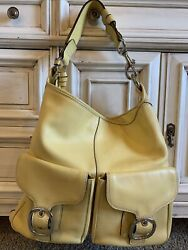USED Womens Coach Leather Purse Tote Yellow 100% AUTHENTIC $30.00