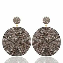 925 Sterling Silver 11.4ct Natural Diamond Pave Dangle Earrings 14k Gold Jewelry