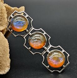 Antique Art Deco Sterling Silver Brooch With Dragons Breath Fire Opal Cabochons