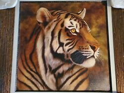 Andrew Bone Giclee On Canvas Tiger Portrait Hand Signed And Framed Ea 27/130