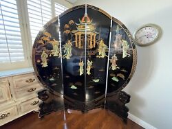 Asian Black Lacker Screen Room Divider W/palace Scene In Mother Of Pearl