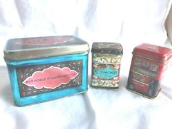 Lot Of 3 Small Tea Tins Kousmichoff Russian Vintage And New