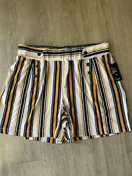 Robert Louis Women's Navy Gold White Stripe Pull On Shorts Size XL $14.99