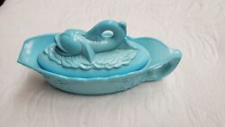 Antique Eapg Blue Milk Glass Dolphin Fish Covered Lid Sauce Gravy Boat