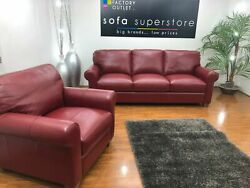 John Lewis Ruby Red Italian Leather 3 Seater Sofa And Chair