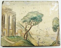 Antique Oil And Pencil Painting Study On Tin Artist Paint Box Paul Signac Type