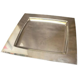 1980s Sami Wirkkala Silver Plated Square Tray Manufactured By Cleto Munari