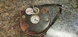 Vintage Detex Watchclock Corp. Guardsman Clock W/ Leather Case And Key